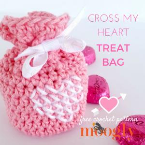 Cross My Heart Treat Bag - free crochet pattern on Mooglyblog.com!