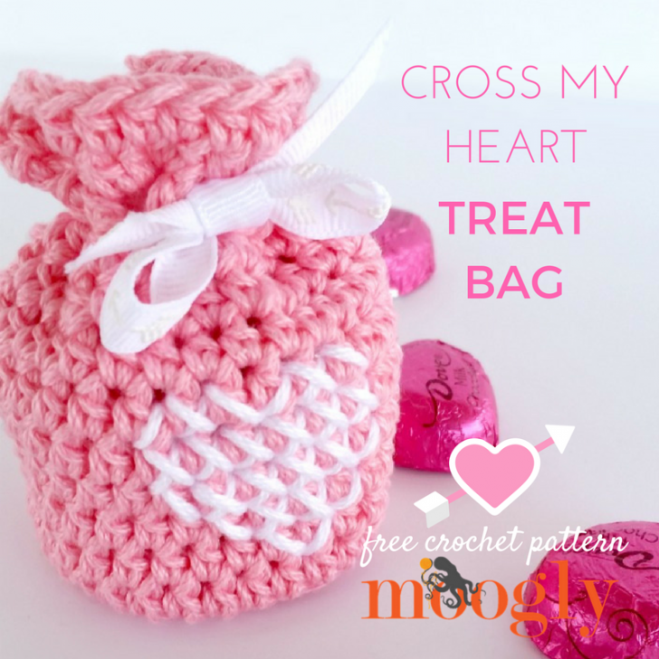 Cross My Heart Treat Bag - free crochet pattern on Mooglyblog.com!