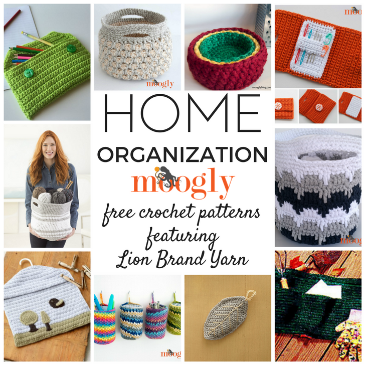 Crochet Home Organization Patterns With Lion Brand Yarn All Free Moogly