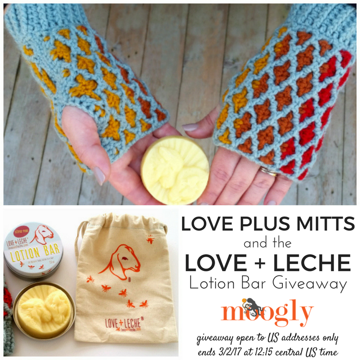 So many goodies in this post on Moogly! Check out these gorgeous mitts, and get a coupon for Love + Leche with your pattern purchase! PLUS enter to win 2 Sweet Sheep Lotion Bars! Giveaway is open to US residents only, and ends 3/2/17