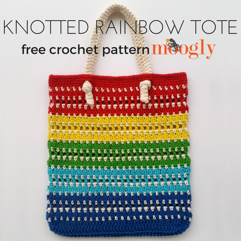 Knotted Rainbow Tote Bag - free crochet pattern on Mooglyblog.com!