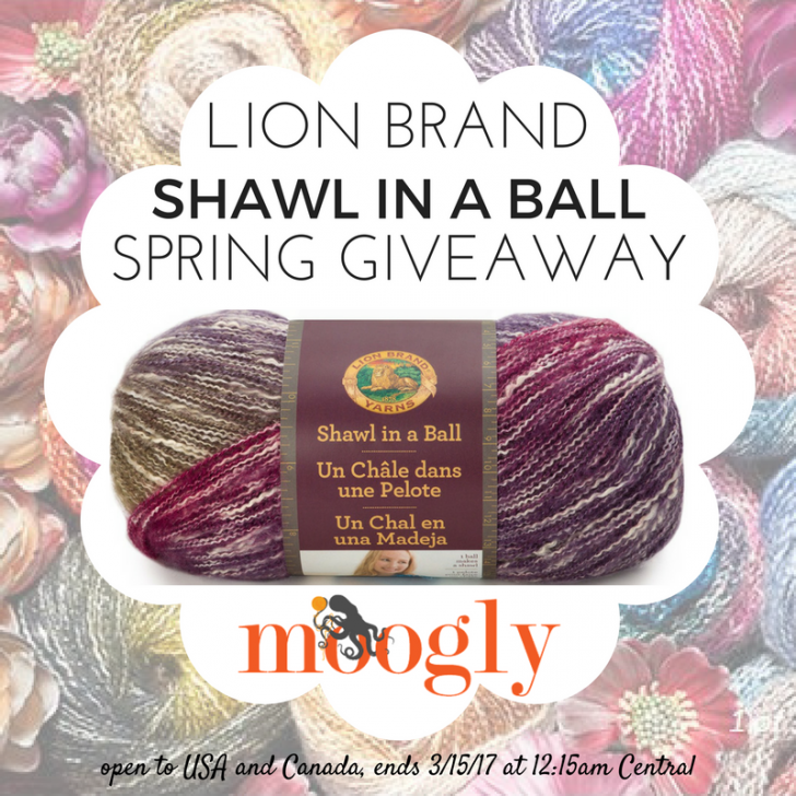 Win Lion Brand Shawl in a Ball in the Spring Giveaway on Mooglyblog.com! Open to USA and Canada, ends 3/15/17 at 12:15am Central US time
