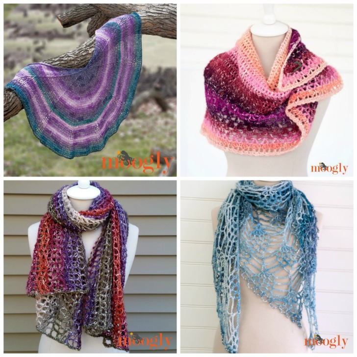 Four free Moogly crochet patterns made with Lion Brand Shawl in a Ball!