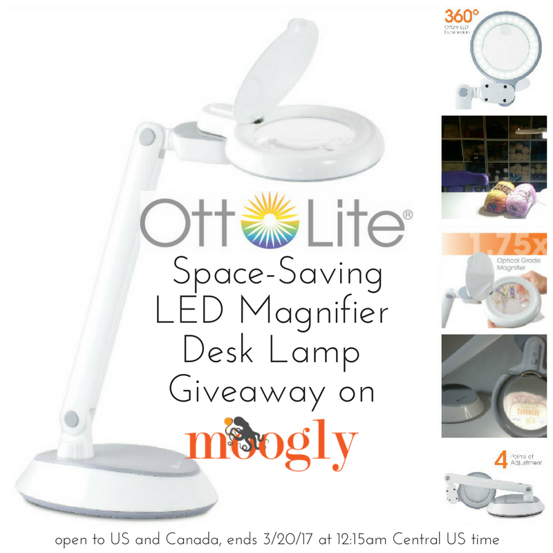OttLite Space-Saving LED Magnifier Desk Lamp Giveaway on Mooglyblog.com! Open to the US and Canada, ends 3/20/17 at 12:15am Central US time.