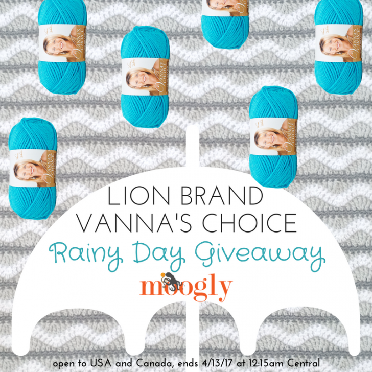 Win 6 balls of Lion Brand Vanna's Choice on Moogly! Open to USA and Canada, ends 4/13/17 at 12:15am Central US time.