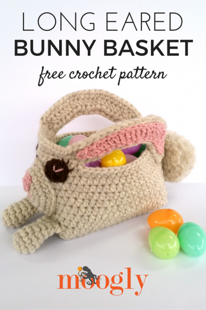 Long Eared Bunny Basket - free crochet pattern on Mooglyblog.com!