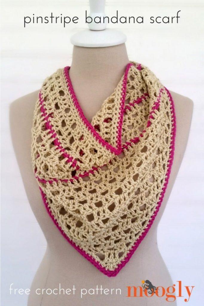 Pinstripe Bandana Scarf - free crochet pattern on Mooglyblog.com!