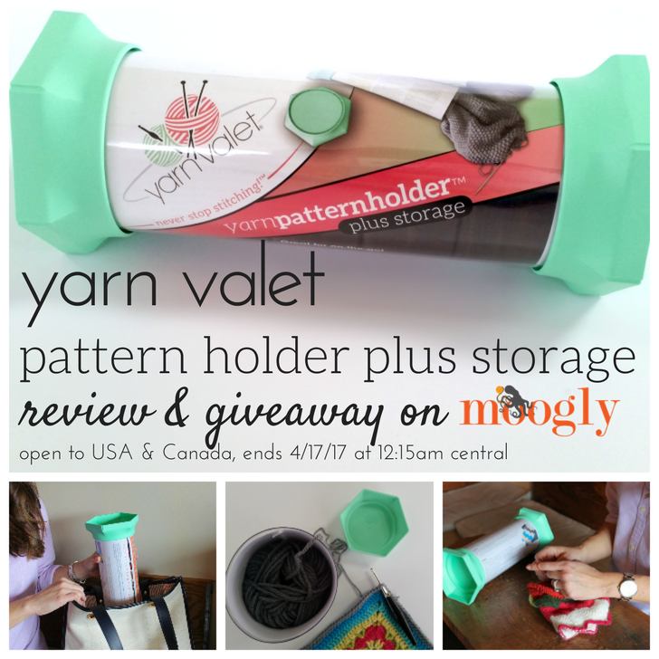 Keep paper patterns and small projects neat and together on the go with the Yarn Valet Pattern Holder Plus Storage! Read Moogly's review and enter to win one on Mooglyblog.com - open to US and Canada addresses, ends 4/17/17 at 12:15 am US central time