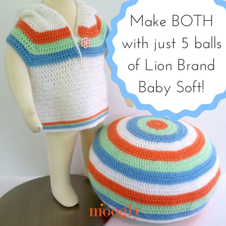 Lion Brand Baby Soft - use just 5 skeins to make BOTH of these FREE crochet patterns on Mooglyblog.com!