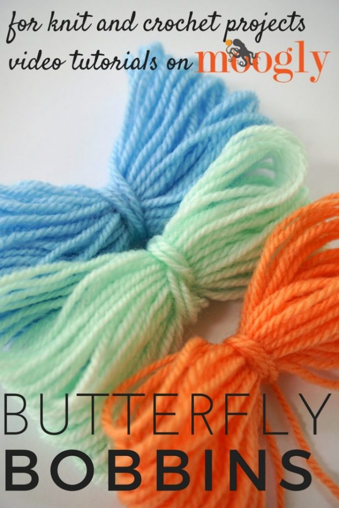 How to make Butterfly Yarn Bobbins - great tip for knitters and crocheters! See how on Mooglyblog.com!