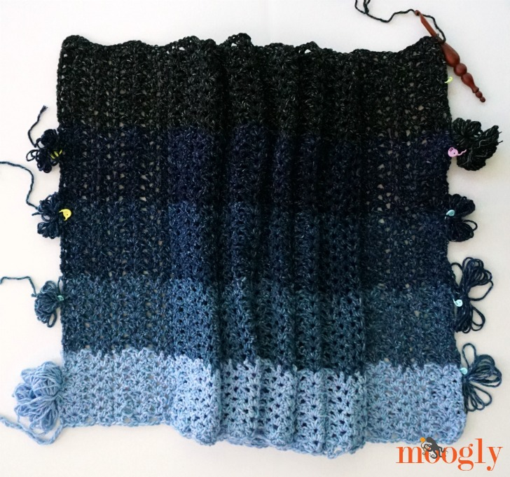 Denim Ombre Wrap - free crochet pattern on Mooglyblog.com!