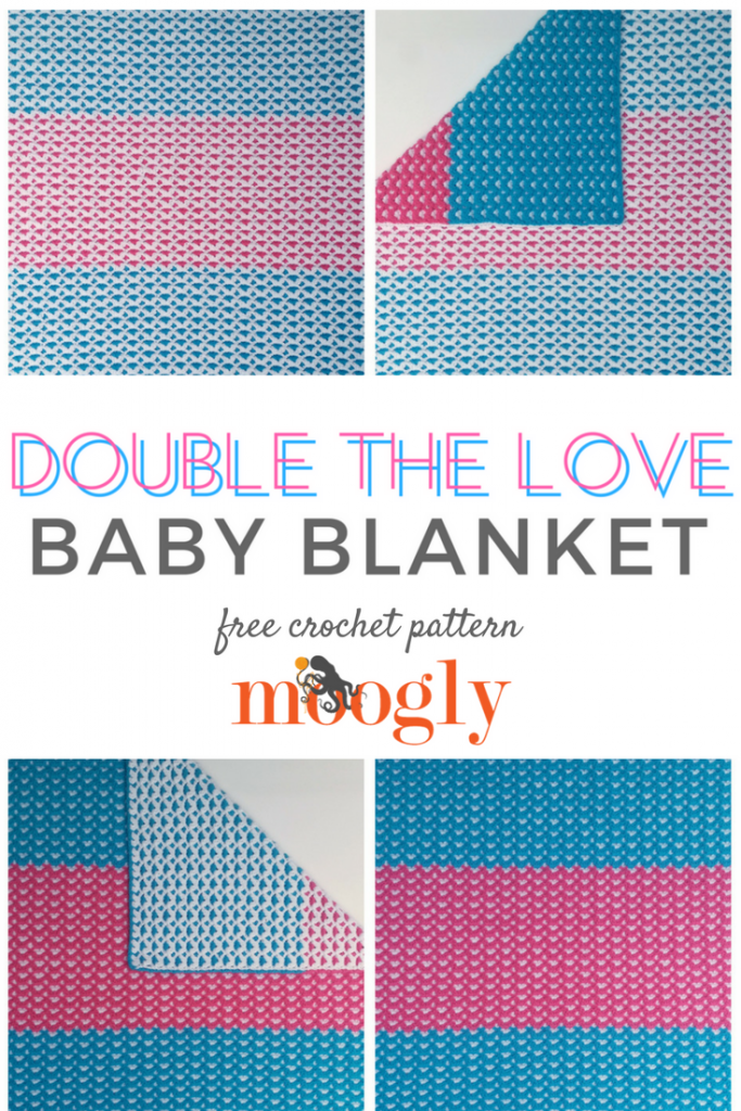 Double the Love Baby Blanket - free crochet pattern with photo tutorial on Mooglyblog.com!