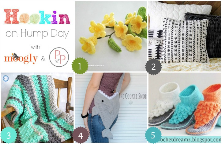 Hookin On Hump Day #142 - get the latest and greatest projects from around the web, and add your own today! Hosted on Moogly and Petals to Picots!