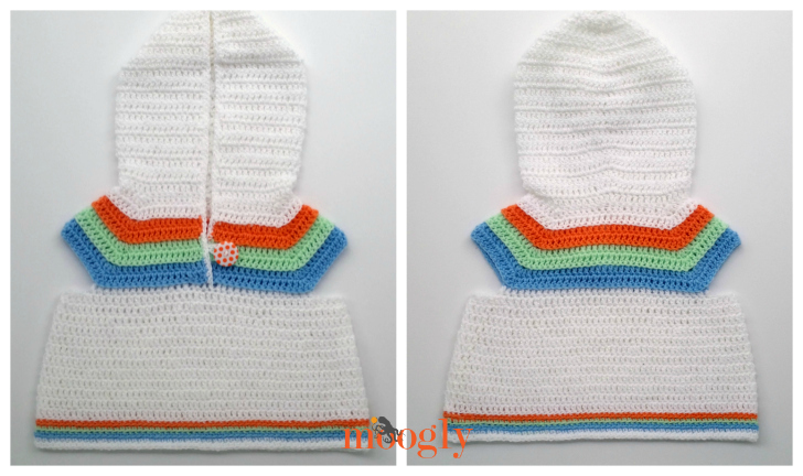 Striped Summer Baby Hoodie - free crochet pattern in 2 sizes on Mooglyblog.com! Perfect for summer breezes and as a swimming coverup!