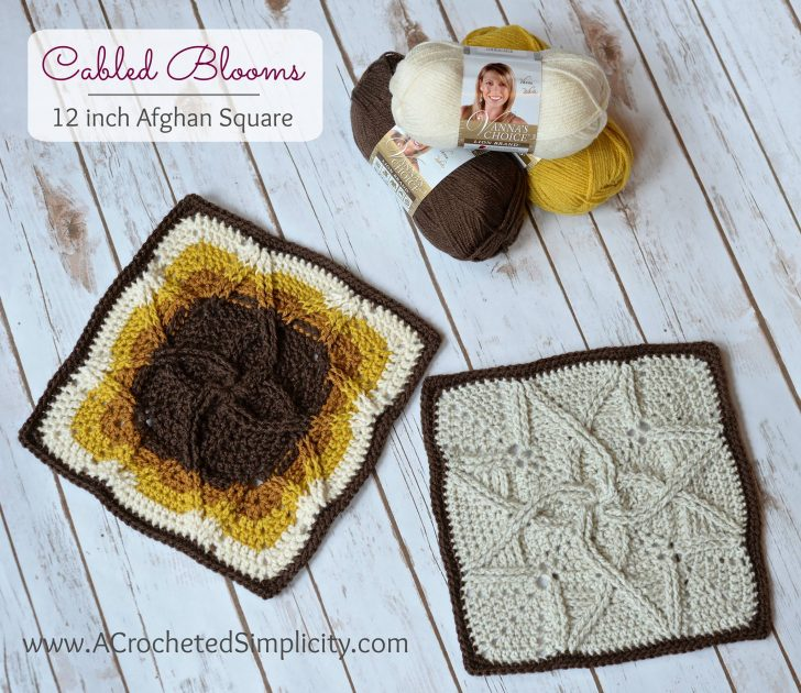 Cabled Blooms by A Crocheted Simplicity - square #14 in the Moogly Afghan CAL for 2017!