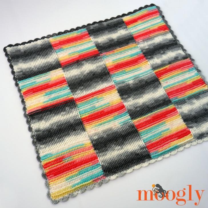 Basketweave Blocks Baby Blanket - free crochet pattern on Moogly! Starring @LionBrandYarn Ice Cream!