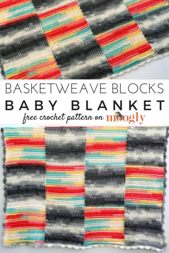 Basketweave Blocks Baby Blanket - free crochet pattern on Moogly! Starring @LionBrandYarn Ice Cream!