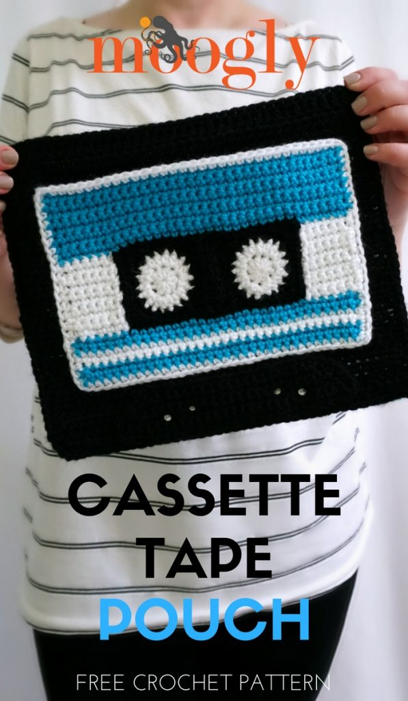 Cassette Tape Pouch - make your own mixtape clutch or pouch for back to school! Free crochet pattern on Moogly!