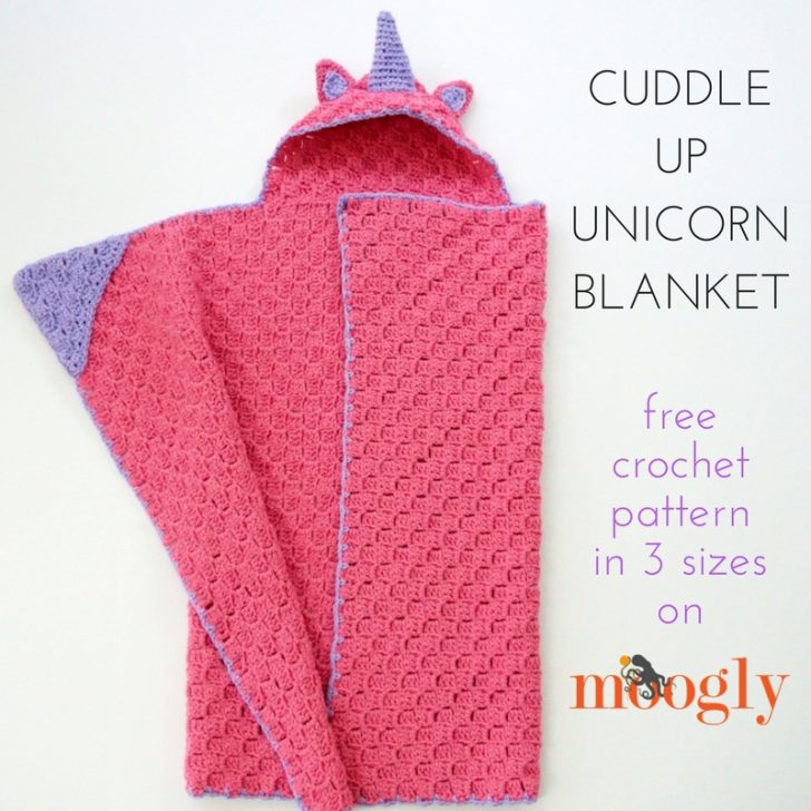 Cuddle Up Unicorn Blanket - free crochet pattern in 3 sizes on Mooglyblog.com!