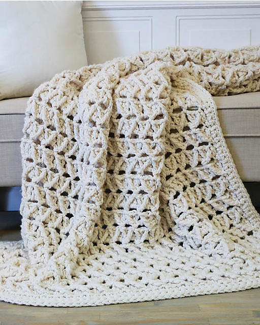 "Faux Cabled Blanket - get the pattern in ""Quick Crochet for the Home"" by Tamara Kelly of Moogly!"