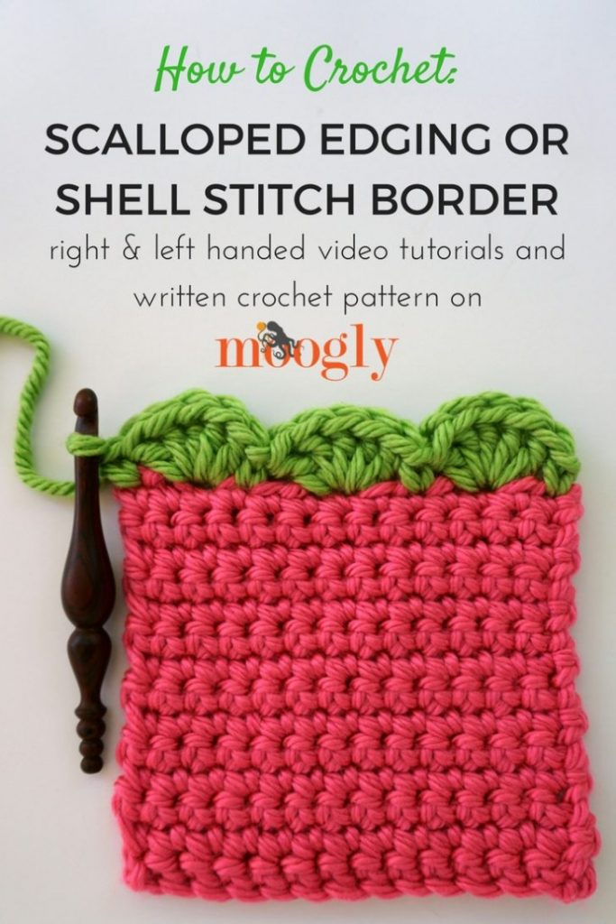 Scalloped Edging or Shell Stitch Border - free crochet pattern and tutorial on Moogly! Perfect for any project!