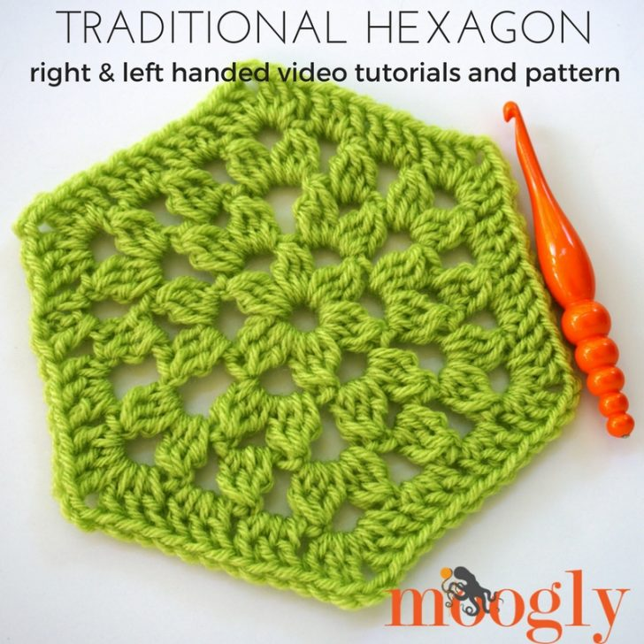 Learn how to #crochet the Traditional Hexagon Motif on Moogly! Video and written instructions included!