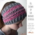 All Grown Up Ear Warmer - FREE pattern with written instructions and video tutorials! Great for sports teams, school colors, fundraisers, and local craft fairs!