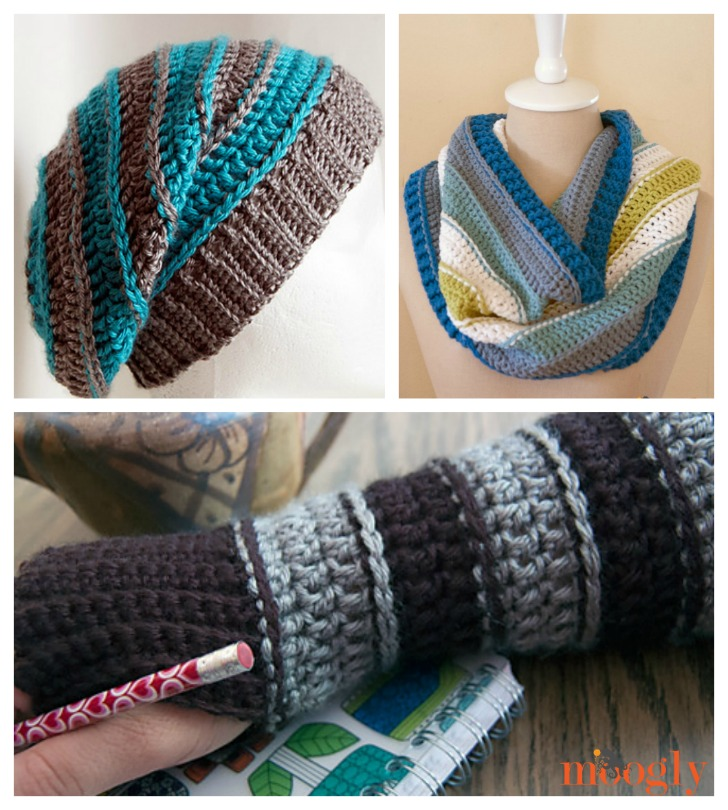 All Grown Up Slouch, Cowl, and Arm Warmers - get all these patterns FREE on Moogly!