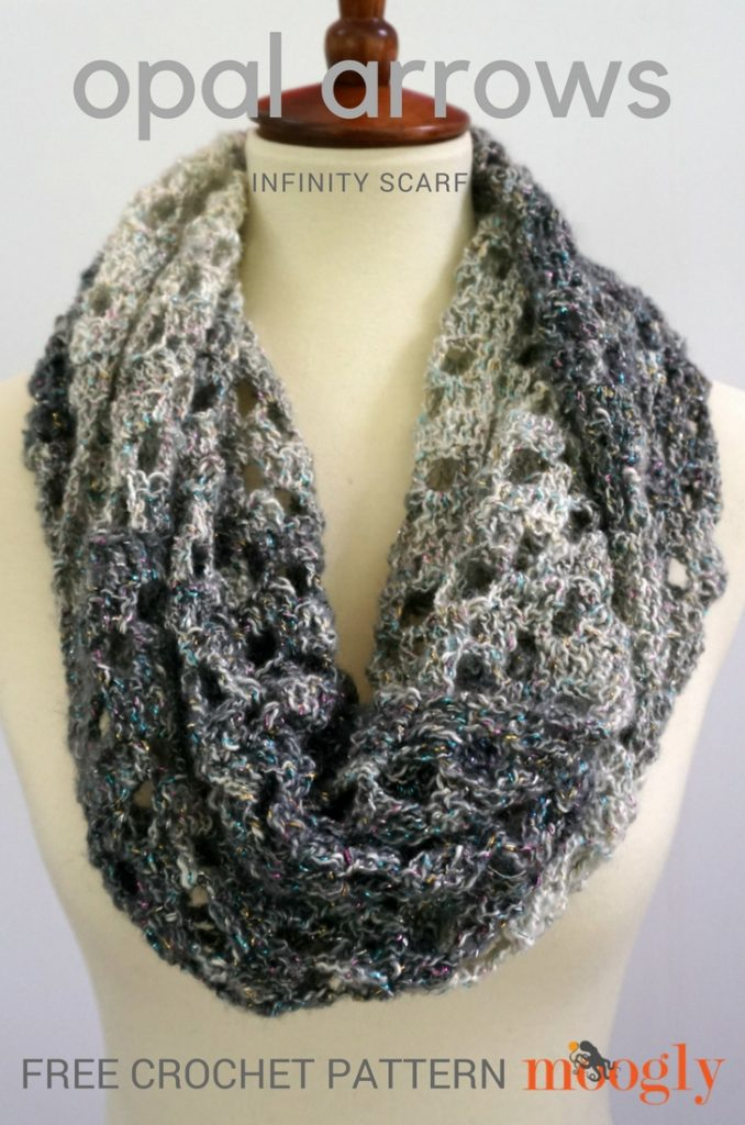 Opal Arrows Infinity Scarf - free one skein crochet pattern on Mooglyblog.com!