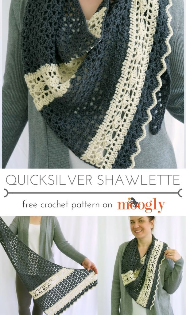 Quicksilver Shawlette - free crochet pattern on Mooglyblog.com