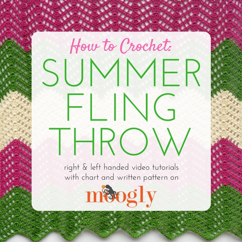 How to Crochet the Summer Fling Throw - video tutorial, chart, and pattern on Moogly! Pattern comes with instructions for 5 different sizes!
