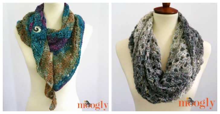 Free crochet patterns on Mooglyblog.com - make each with just one skein of Lion Brand Shawl in a Ball!