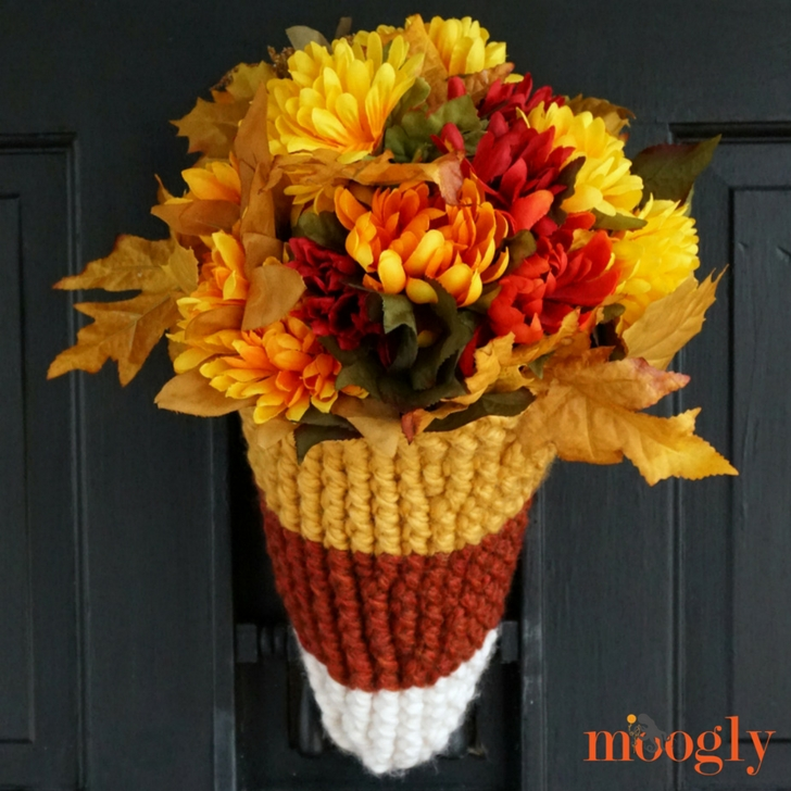 Candy Corn Door Basket - free crochet pattern on Mooglyblog.com!