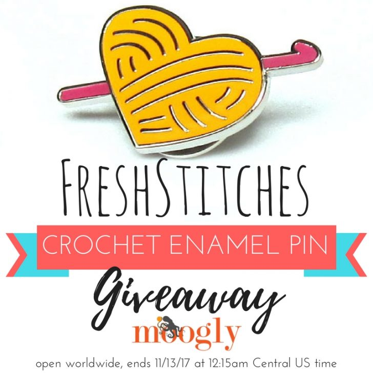 FreshStitches Crochet Enamel Pin Giveaway on Moogly - open worldwide, ends 11/13/17 at 12:15amCentral US time