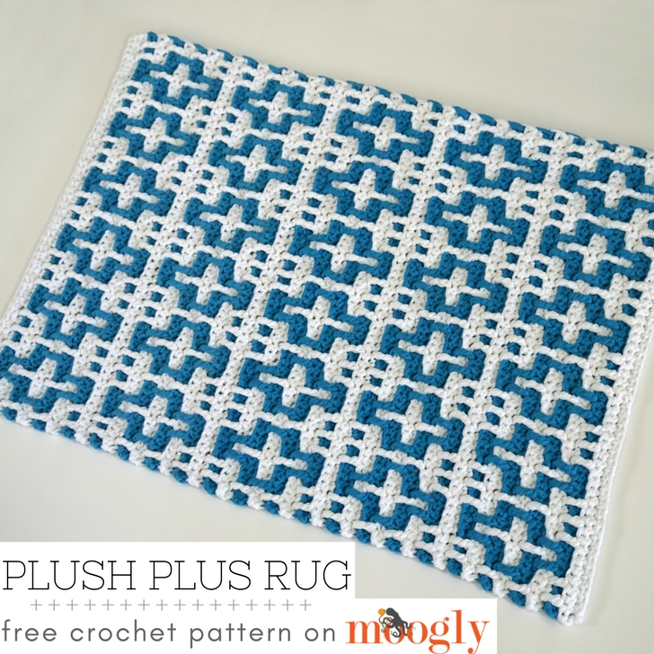 Plush Plus Rug - free crochet pattern on Mooglyblog.com - all the info you need to make it in any size is included with this free pattern!