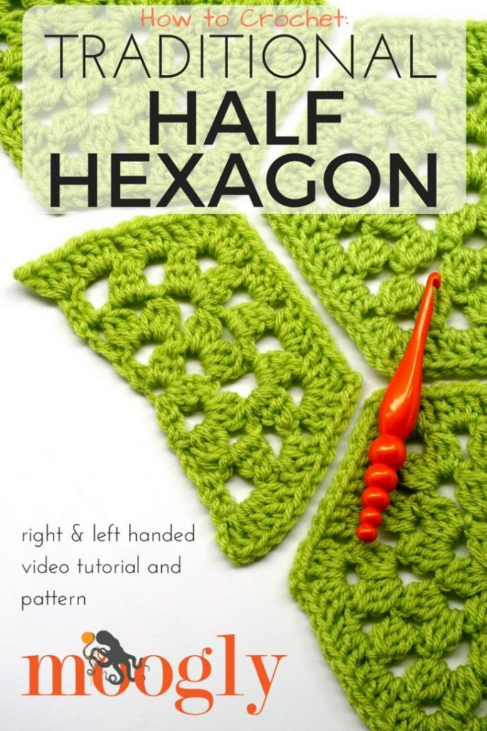 Traditional Half Hexagon Motif - free crochet pattern and video tutorial on Moogly!