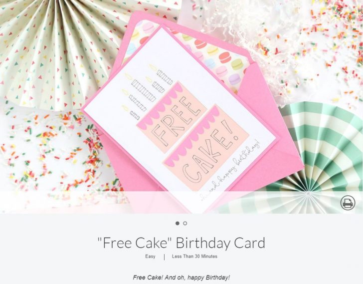 Free Cake Birthday Card - free with the Cricut Maker! See all 50 free projects in the Cricut Maker Blog Hop!