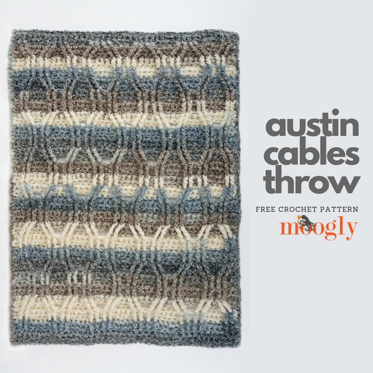 Austin Cables Throw - free crochet pattern on Mooglyblog.com!