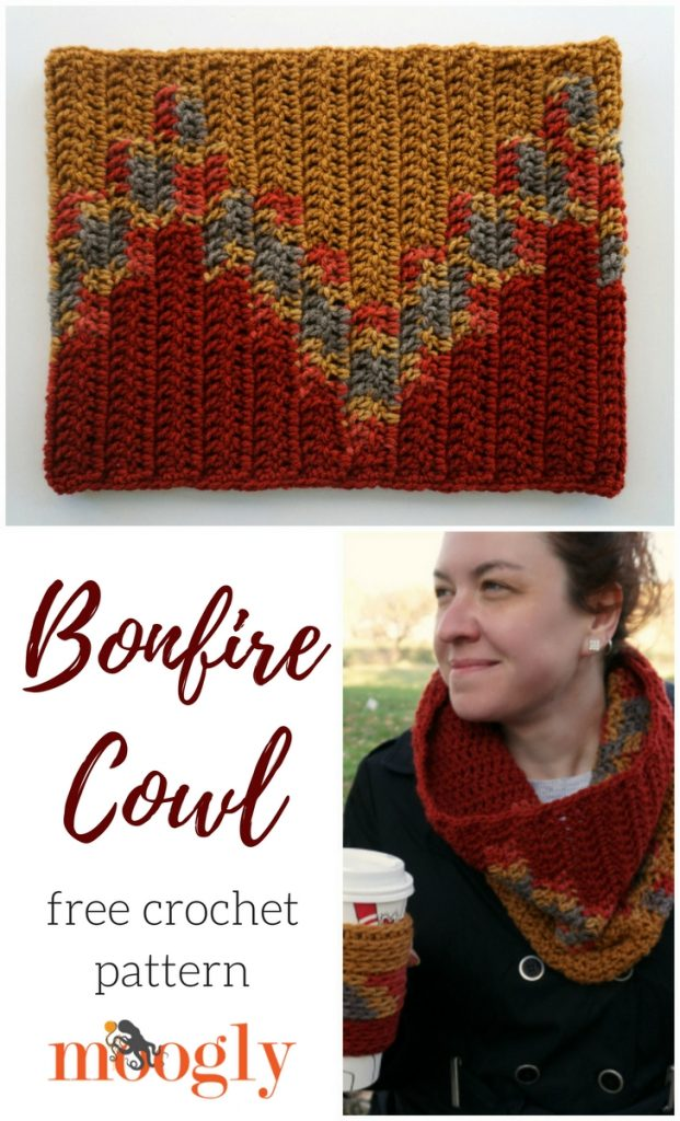 Bonfire Cowl - free crochet pattern on Mooglyblog.com!