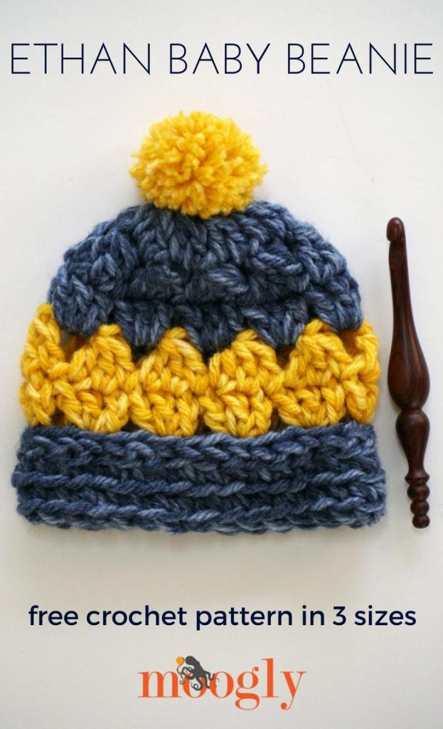 Ethan Baby Beanie - free crochet pattern in 3 sizes on Mooglyblog.com!