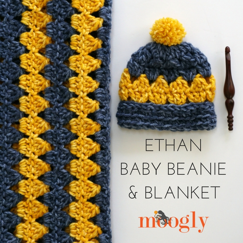 Ethan Baby Beanie and Blanket - free crochet pattern set on Mooglyblog.com!