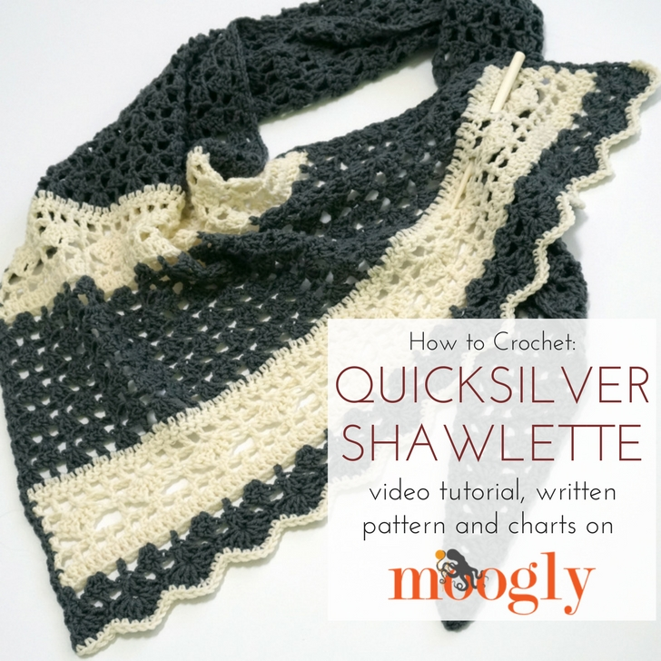 Quicksilver Shawlette - free pattern with video tutorials and charts on Mooglyblog.com!