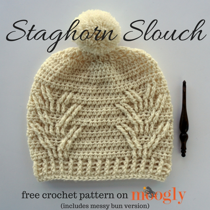 Staghorn Slouch - free crochet pattern for both Pom and Messy Bun Versions on Mooglyblog.com!