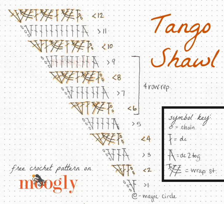 Tango Shawl - get the full free crochet pattern including chart, written instructions, and video tutorials on Moogly!