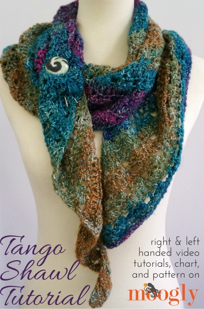 Tango Shawl Tutorial - how to crochet this free pattern, videos and chart on Moogly!