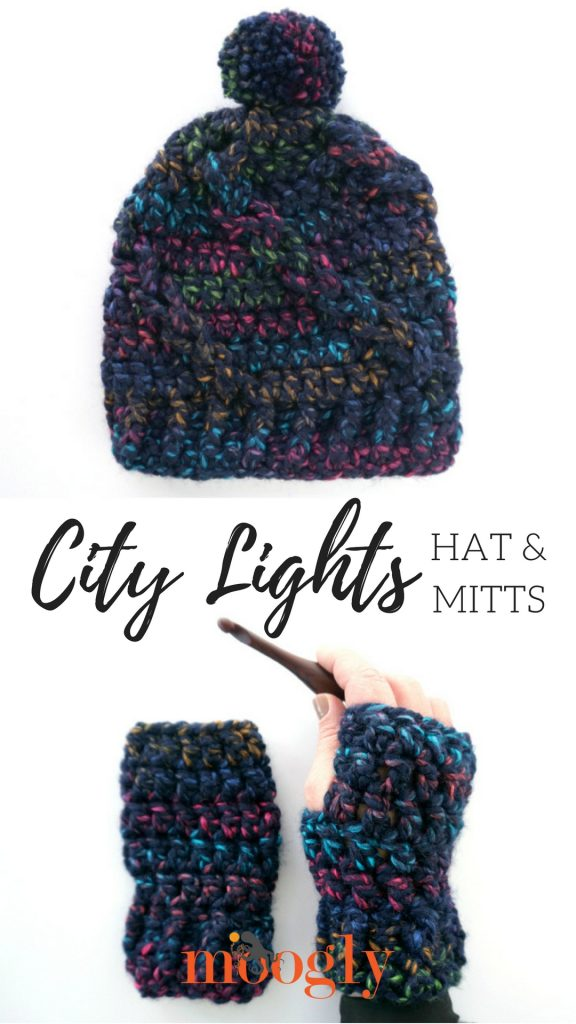 City Lights Hat and Mitts - Free Crochet Pattern Set on Mooglyblog.com - make both with just one ball of yarn! #MakeItWithMichaels #LionBrandYarn #LionBrand #sponsored
