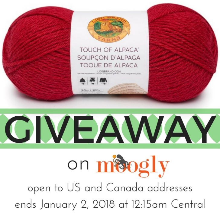 Win 5 balls of Lion Brand Touch of Alpaca on Moogly! Giveaway ends 1/2/18