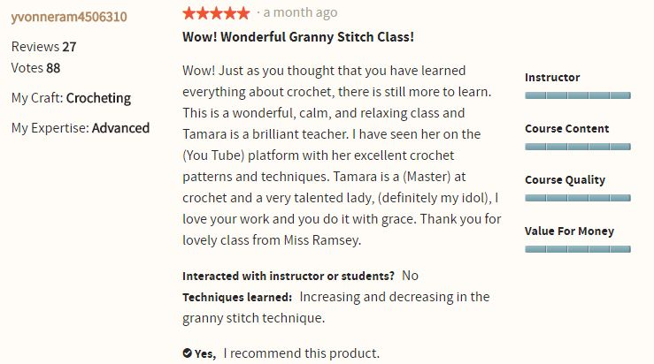 The Reviews are in! People love Classic Crochet: The Granny Stitch with Tamara Kelly on Craftsy!
