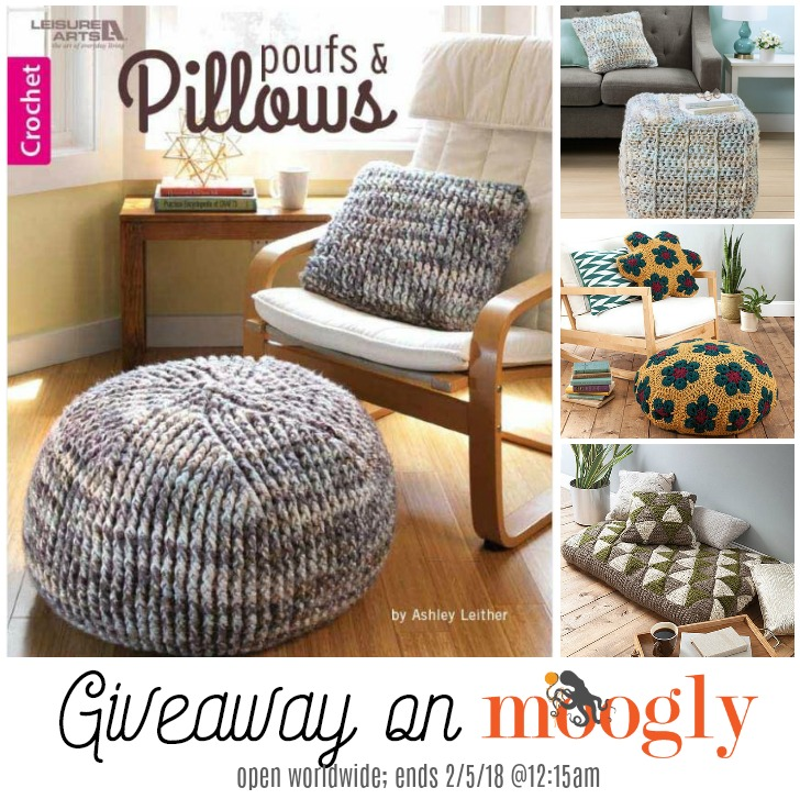 Poufs & Pillows by Ashley Leither - review & giveaway on Moogly! Giveaway ends 2/5/18 at 12:15 am Central US time.