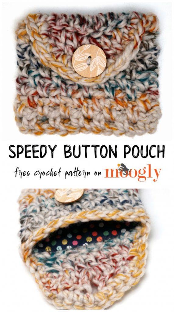 Speedy Button Pouch - free crochet pattern on Moogly!